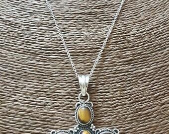 Vintage sterling silver large cross necklace,tiger's eye gemstones,belcher chain