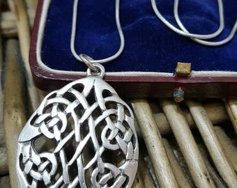 Vintage 925 sterling silver necklace, large celtic design pendant
