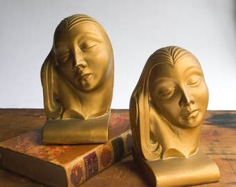 Antique Art Deco Woman's Head Bookends