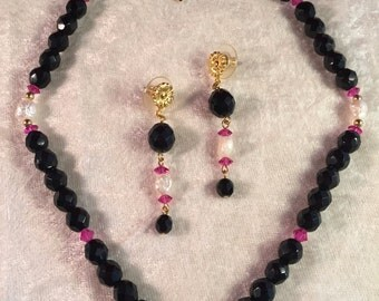 Hobé Demi Parure of Jet Black and Amethyst Faceted Beads and Pearls - A pretty and heavy Set! 930960