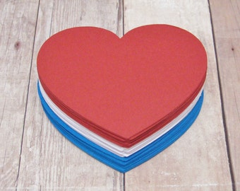 2.5 inch Cardstock Hearts-Red White and Blue Heart Cutouts-4th of July Decor-Table Confetti-Independence Day Cutouts-Summer Paper Crafts