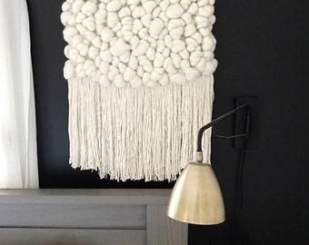 Handmade Woven Wall Hanging || Cream Roving Weaving