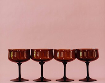 Vintage Espresso Brown Wine Glasses   Vintage Brown Champagne   Vintage Glassware   Tall Sherbet   Cups   LENOX USA