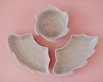 3 Piece   Vintage California Pottery Lazy Susan Made in U.S.A   No. 275 8 and 275 P   Blue Leaf Ceramic Serveware