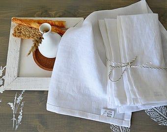 Set of linen napkins - Dinner linen napkin set of 4, 6, 8, 10, 12 - White napkins  - Softened handmade napkins