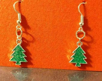 Small silver and green Christmas trees