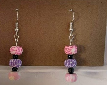 Pink and purple bead with black spacer bead and silver fishhook