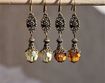 Citrine Earings, Topaz earrings, November Birthstone, Antique Vintage Style Boho earrings, Swarovski Gift for her, Earth tones jewelry