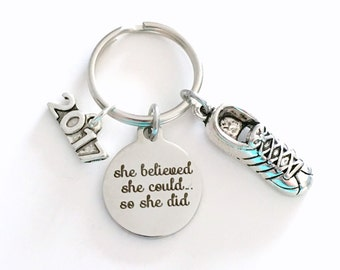 Gift for Her or Him 2017 or 2018 Charm, Athletic Scholarship Keychain Laser Engraved Key Chain Stainless Steel Keyring Customized letter him