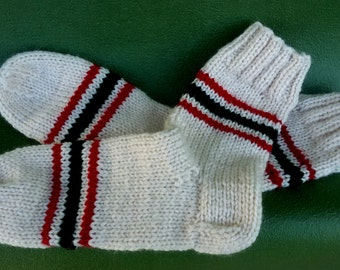 Women's Socks Wool Socks in White with Stripes Size 38/39 Gift for women