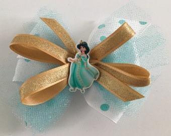 Disney Princess Bow Jasmine Hair Bow Disney Jasmine Bow Princess Jasmine Bow Aqua Jasmine Bow Gold Jasmine Bow Auqa Polka Dot Tulle Bow