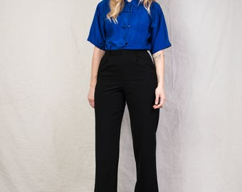 AMAZING Vintage High Waisted Black Trousers / S / 90s pants perfectly fitted lined slacks