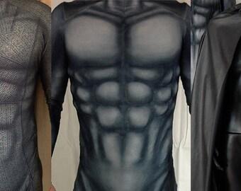 BATMAN bodysuit, cape and muscle suit combo