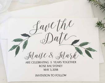 Greenery Save the Date, Greenery Invitation, Printing, Botanical Save the Date, Rustic, Vineyard Wedding Invitation, Rustic Wedding, Invites