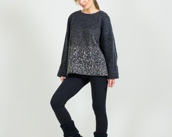 Wool-blend A-line Sweater // Oversized Wool Womens Sweater