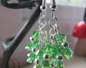 Green earrings , Green and silver earrings , Cluster earrings , Silver plated earrings , Dangle earrings , Hooked earrings , Gifts for her