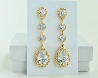 Long Gold Bridal Earrings Long Gold Cubic Zirconia Earrings Long Gold Crystal Earrings Gold Wedding Long Earrings Gold Bridesmaid Jewelry