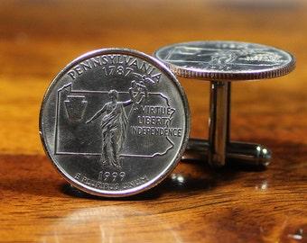 Pennsylvania Cuff Links, Quarter Cufflinks, Pennsylvania gift, Harrisburg present