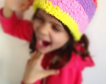 Sweet crochet hat kids toque beanie girls headdress fluffy hairy chunky bulky beanie sugary colors kids lollipop juicy fruity MADE T.ORDER