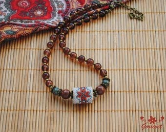 Gifts for her gifts for girlfriend unique necklace boho chic choker necklace embroidered jewelry brown bead necklace everyday necklace gift