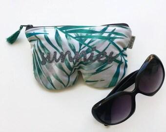 retro tropical leafs Sunglasses case glasses case sunnies eye glass sunglasses pouch glasses glass case sunglass zipper sunglass case