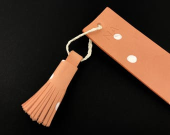 Personalized Leather Bookmark Personalised Bookmark Pink Polka Dot Leather Bookmark