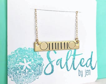 Jeep Necklace - Jeep Gift - Jeep Jewelry - Gift For Her - Jeep Christmas Gift - Bar Necklace - Jeep Accessory