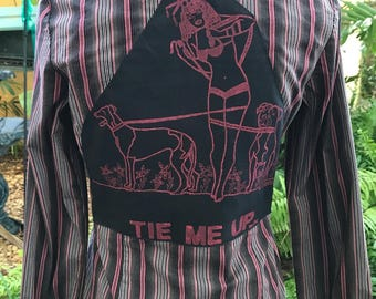 Pit Bull Shirt Greyhound Shirt Dog Shirt  Hand Drawn Sexual Humor Tie Me Up Eco Size Small