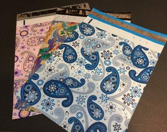 100 Designer 10x13 PAISLEY Assortment Blue Purple Multi Color Poly Mailers Envelopes Shipping Bags
