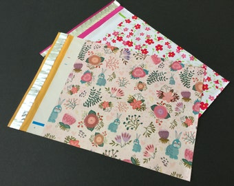 100 Designer 10x13 Rabbits and  Little Red Flowers Spring Assortment 50 Each Poly Mailers Easter Envelopes Shipping Bags