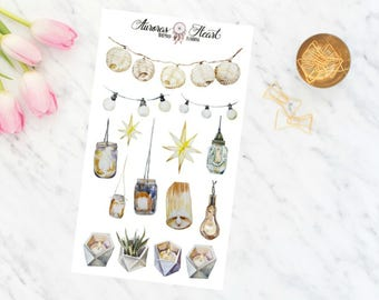 Fairylights watercolor planner stickers boho