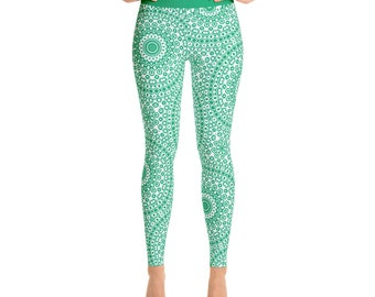 Yoga Clothes for Women - Jade Green Leggings, High Waisted Workout Pants