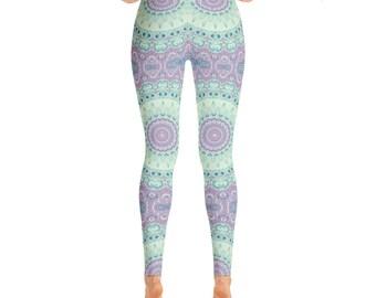 Leggings Yoga Purple and Green - Printed Yoga Tights, Mandala Yoga Tights, Mandala Art Pants, Fashion Leggings, Womens Stretch Pants