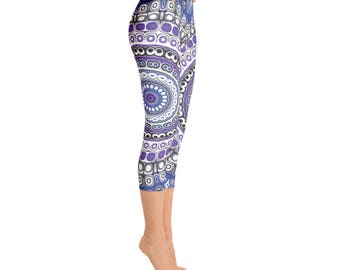 Capris, Tribal Leggings, Blue and Purple Mandala Leggings, Aztec Style Leggings, Festival Pants, Yoga Pants