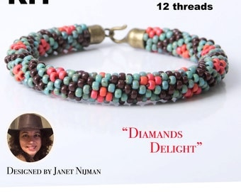 KIT Kumihimo pattern and tutorial 12 strands bracelet