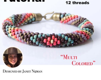 Kumihimo pattern tutorial 12 strands Multicolors Bracelet Pattern PDF