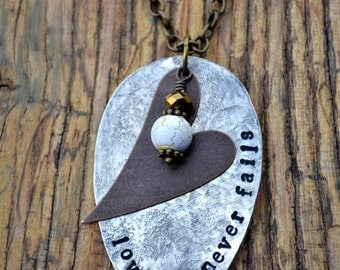 Love Never Fails | Vintage Spoon Necklace | Hand Stamped Jewelry | Repurposed Silverware Jewelry | Boho Chic Jewelry