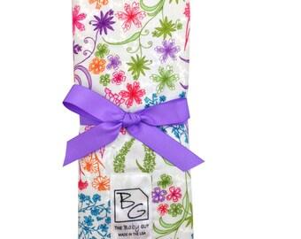 English Garden 3 Piece Burp Cloth Set Purple Pink Green