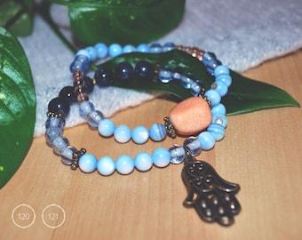 Fossil stone beads bracelets