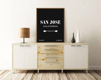 SAN JOSE PRINT, San Jose California, San Jose Map, San Jose Coordinates, Typography Print, Printable Wall Art, Minimalist Poster