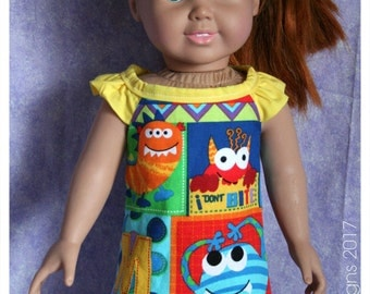 18 inch Doll Clothes Handmade Forty Winks Monster Night Gown