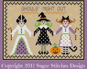 Ghouls Night Out Halloween Cross Stitch  PDF Digital Cross Stitch Pattern