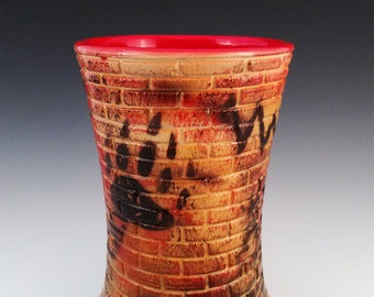 Chumash Vase, Brick Texture, Graffiti Inspired Vase, Native American Art