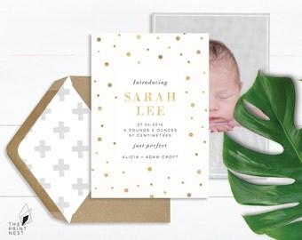 Birth Announcement   Gold Foil Birth Announcement   New Baby Announcement