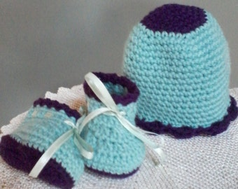 Crocheted Baby hat and matching booties 3 - 6 months