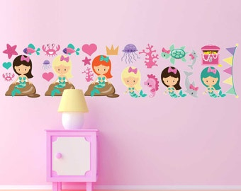 25-piece Mermaid Underwater Scene Decal Sticker Set perfect for Girl's Bedroom Wall