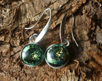 Unique gold, black and white dichroic glass drop earrings- dangle earrings- handcrafted- gifts- fused glass earrings- jewellery
