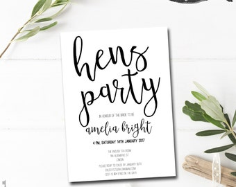 Hen Party Invitation Printable - Hens Invitations - Hens Night Invitation - Hen Party Invites - Hens Party Invitation - Hens Day Invitation