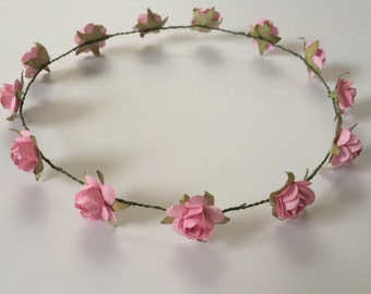 Rose crown, flower girl crown, toddler headband, pink rose crown, music festival headpiece