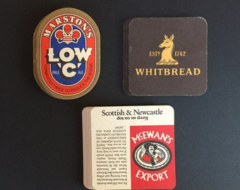 Vintage Pub Beer and Ale Coasters - Group of 15 - Marston, Whitbread, and McEwan's